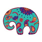 Hand drawn stylized baby cartoon elephant for adult anti stress colouring page. Colorful variant.