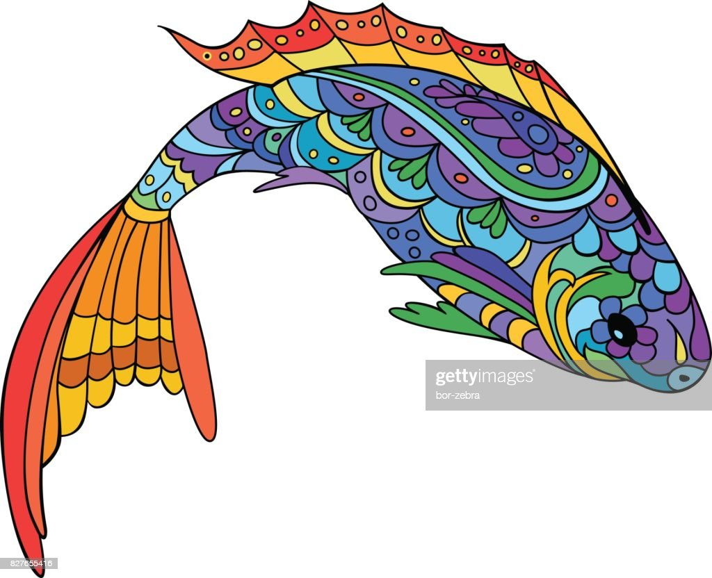 Hand Drawn Stylized Sea Fish Doodle Style Art Catoon Animal For ...