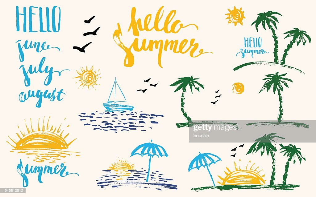 Hand drawn summer design elements set with brush lettering, palm