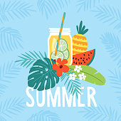 Hand drawn summer greeting card, invitation with lemonade drink in mason jar. Watermelon and pineapple fruit with tropical palm leaves and hibiscus flower. Vector illustration, web banner