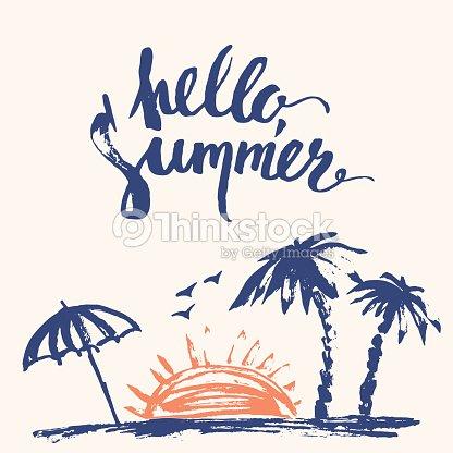 Hand Drawn Summer Print With Palm Trees Sunset Beach Umbrella Vector Art