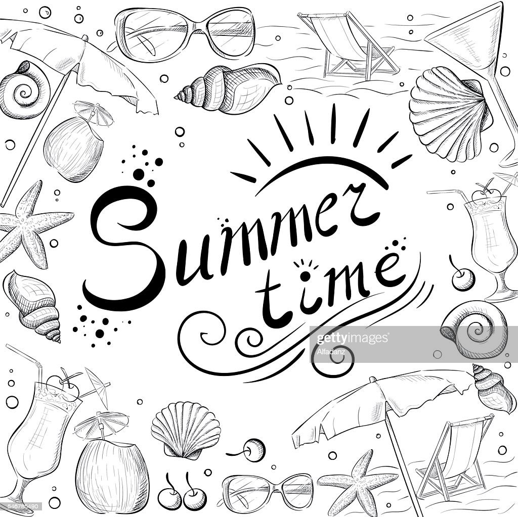 Hand drawn summer time icons set. Travel collection. summer time
