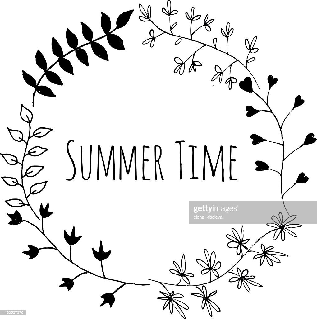 Hand drawn summer time vintage floral elements : Vector Art