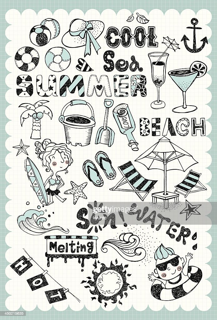 Hand drawn summer vacation set 01