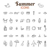 Hand drawn summer vector icon set. Beach icons collection.