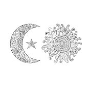 Hand drawn sun, new moon and star for anti stress colouring page.