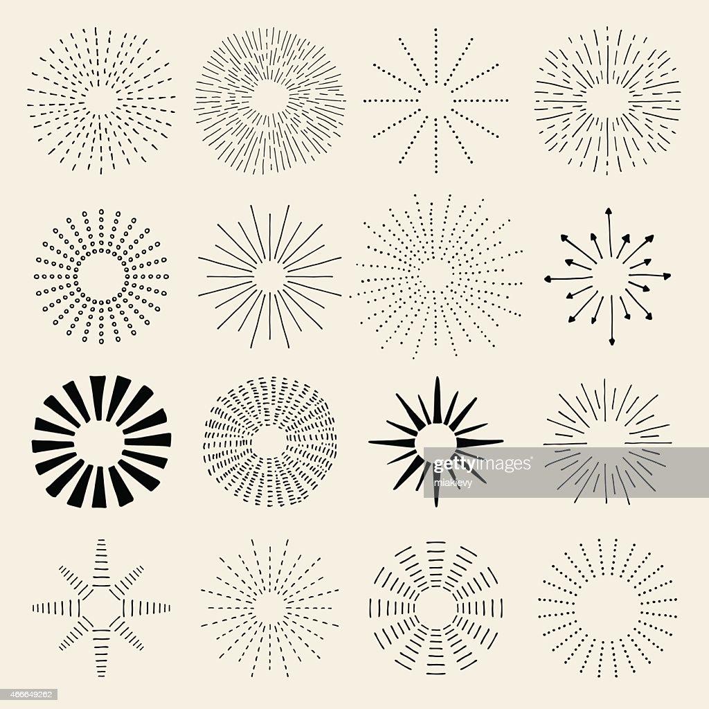 Mão desenhadas sunburst : Ilustração