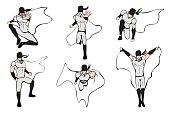 Hand drawn superhero models in various poses.