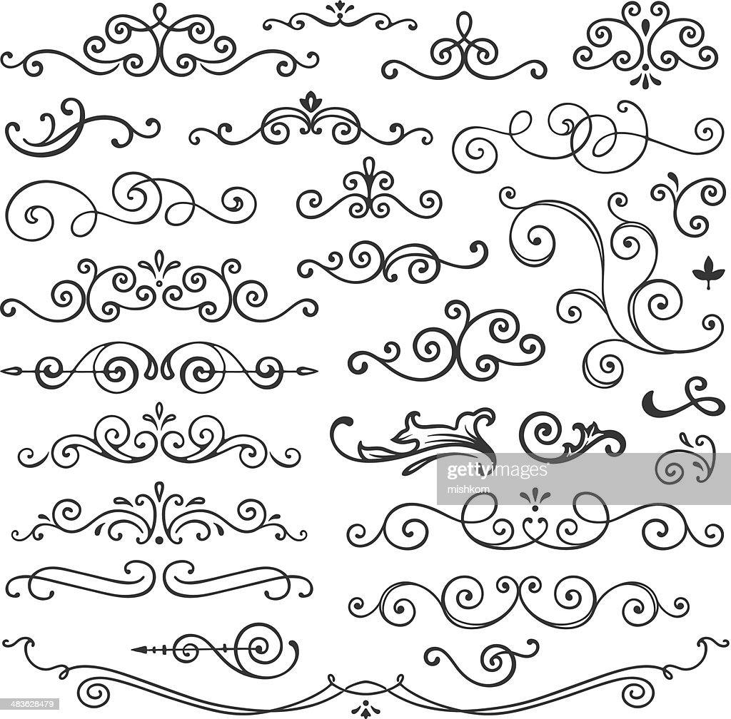 Hand Drawn Swirl Design Elements