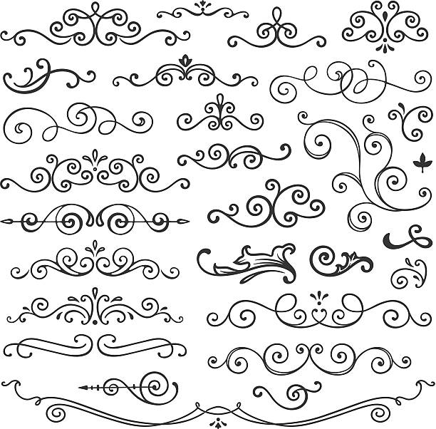 hand drawn swirl design elements - swirl stock illustrations