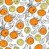 Hand drawn tangerines. Vector  pattern