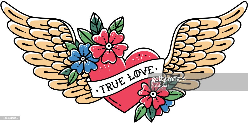 Hand drawn tattoo flying heart with wings. Tattoo heart with ribbon and flowers. Tattoo with phrase TRUE LOVE