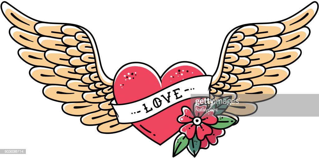 Hand drawn tattoo heart with wings, ribbon, flower and word LOVE. Flying heart, vector illustration