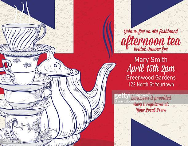 hand drawn tea party bridal shower template - british culture stock illustrations