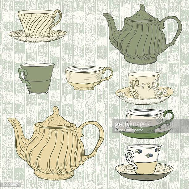 Hand Drawn Tea Set