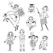 Hand drawn teacher and schoolchildren.