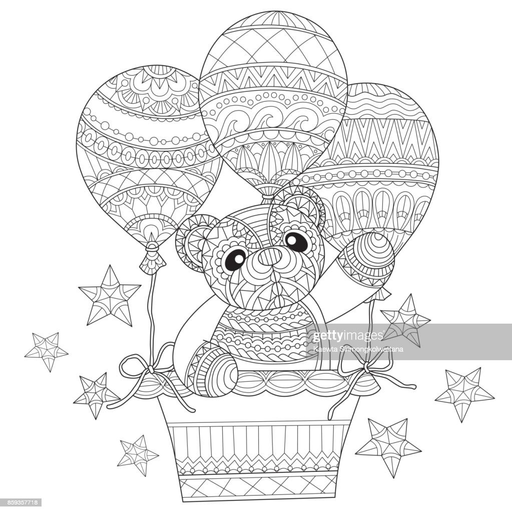 Hand drawn teddy bear in the balloon for adult coloring page stock
