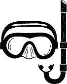 Hand drawn textured snorkeling mask vector illustration