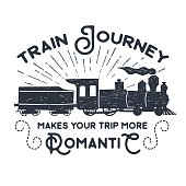 Hand drawn textured vintage label, retro badge with steam train vector illustration.