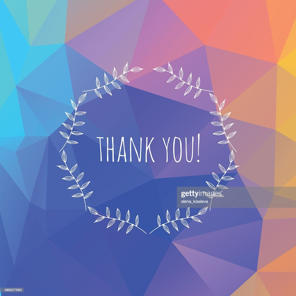 Hand drawn thank you vintage floral elements badge : Vector Art
