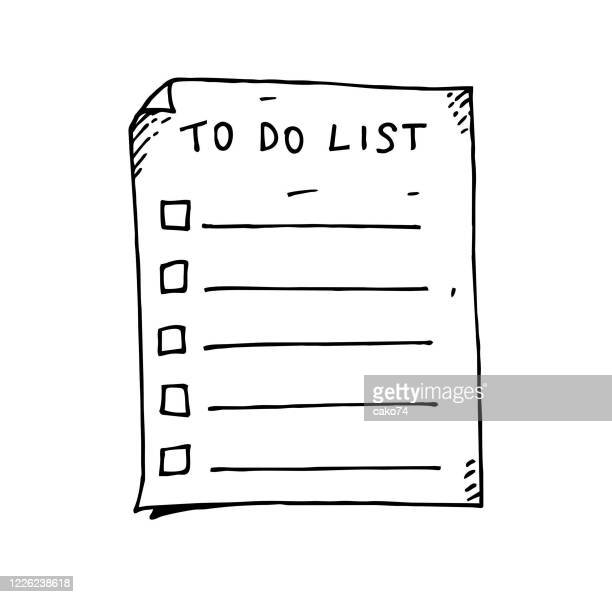 hand drawn to do list - to do list stock illustrations