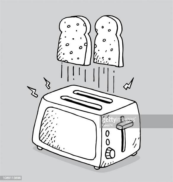 Hand drawn toaster and breads