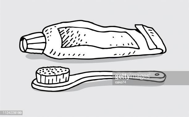 hand drawn tooth paste and brush - toothpaste stock illustrations