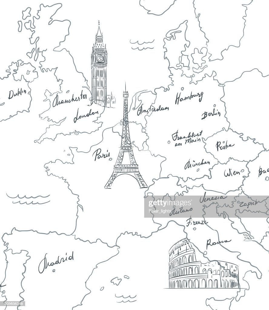 Hand drawn tourist map with sights of Europe