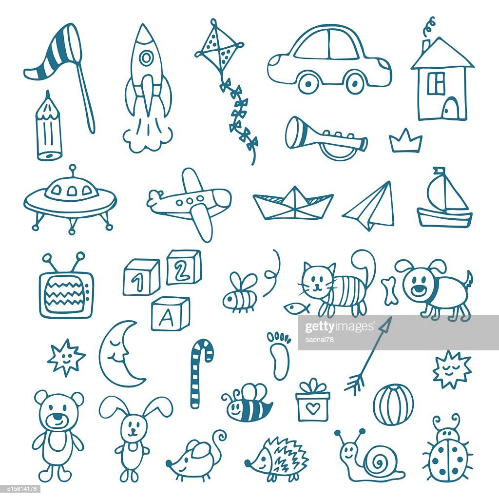 Hand drawn toys for boys. Vector set of different toys