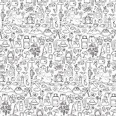 Hand drawn travel seamless pattern