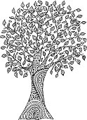 Hand drawn tree with pattern