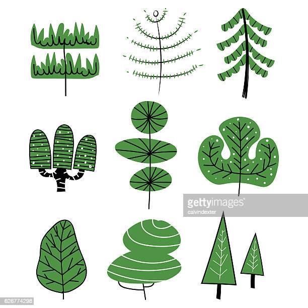 hand drawn trees - tree trunk stock illustrations, clip art, cartoons, & icons