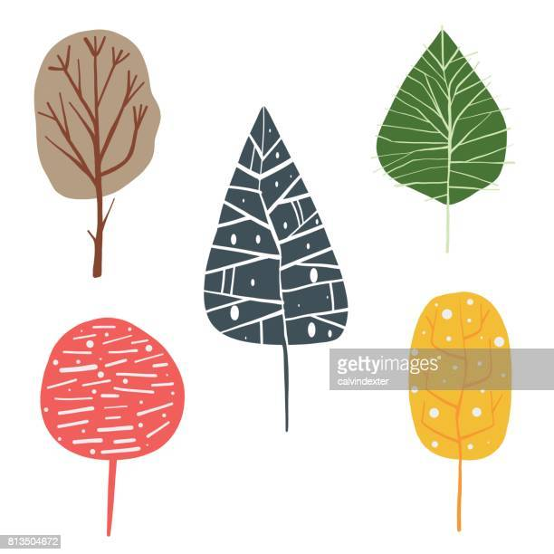 ilustraciones, imágenes clip art, dibujos animados e iconos de stock de árboles de dibujo a mano - las cuatro estaciones
