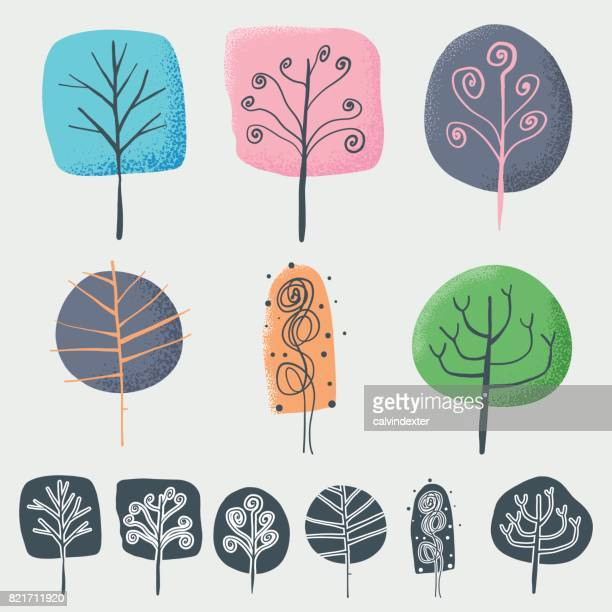 hand drawn trees - tree trunk stock illustrations, clip art, cartoons, & icons