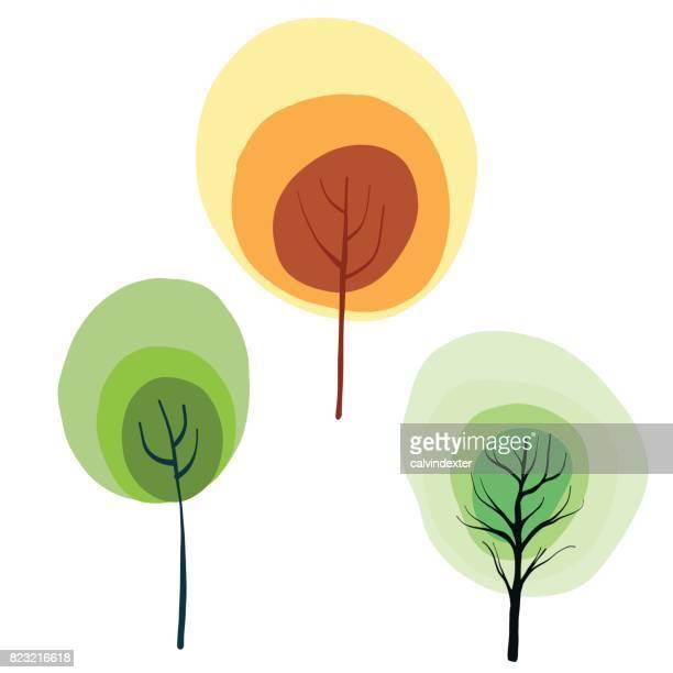 Handritad träd