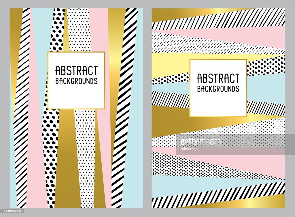 Hand drawn trendy abstract backgrounds : stock illustration