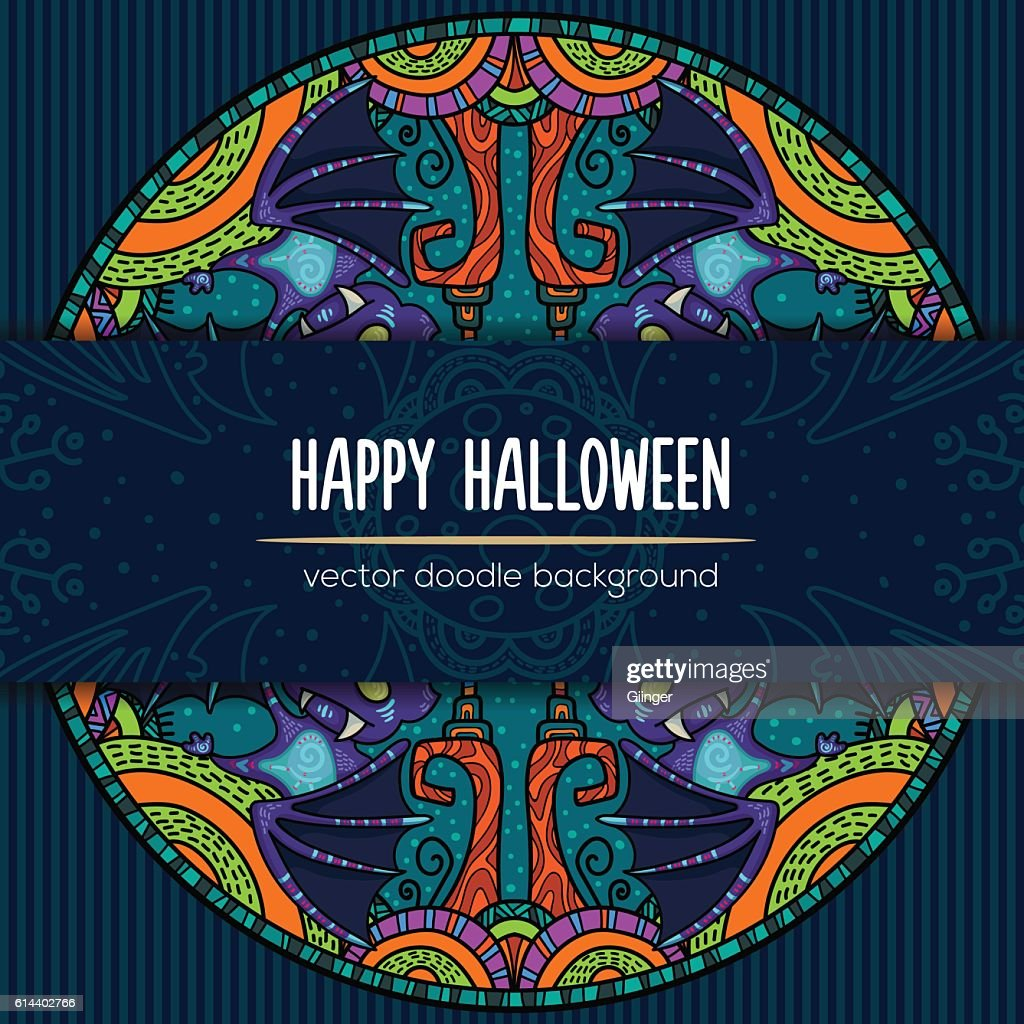 88eb7643b Hand Drawn Tribal Bat In The Forest For Happy Halloween stock vector ...