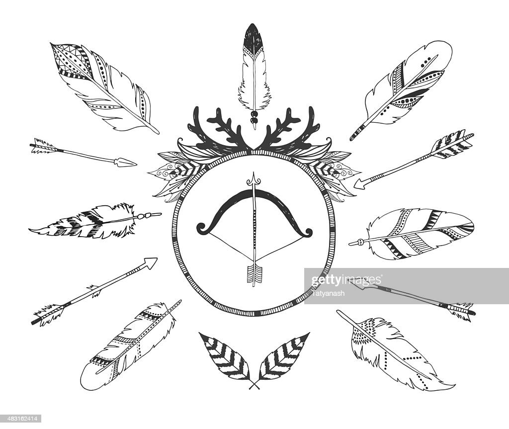 hand drawn tribal collection with arrows and feathers vector art