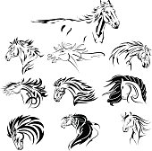 Hand Drawn Tribal Horse Set Black
