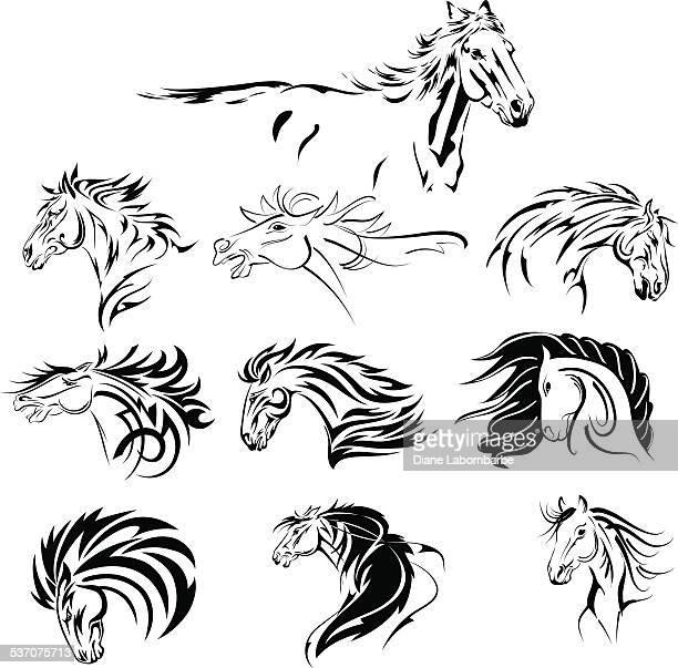 ilustrações, clipart, desenhos animados e ícones de mão desenhada conjunto preto tribal cavalo - animal mane
