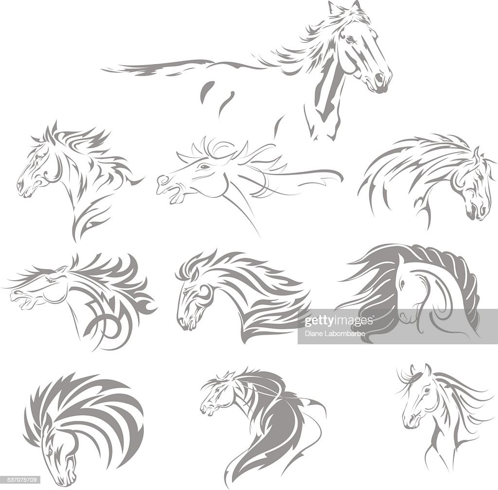 Hand Drawn Tribal Horse Set Grey