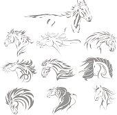 Hand Drawn Tribal Horse Set Grey