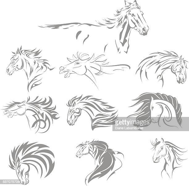 hand drawn tribal horse set grey - horse family stock illustrations, clip art, cartoons, & icons