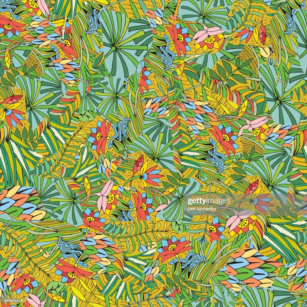 Hand Drawn Tropical Plant Seamless Pattern. Background on the Jungle Theme. Exotic Flowers and Leaf.