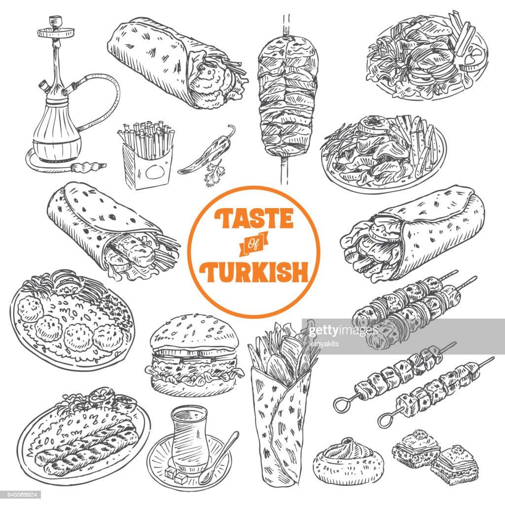 Hand drawn Turkish food, Vector Illustration