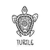 Hand drawn turtle symbol. Vector logo design template.