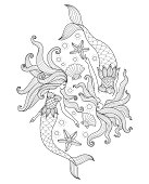 Hand drawn Two Mermaids in the sea for adult coloring page.