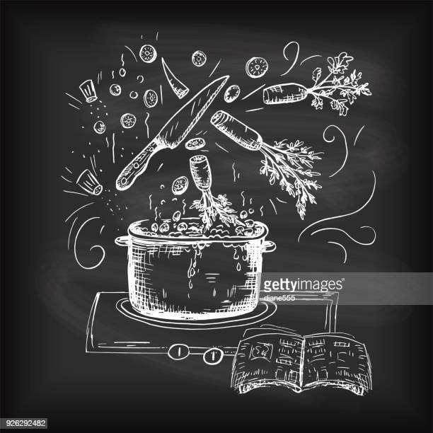 hand drawn typography - cooking and foods - kitchen utensil stock illustrations