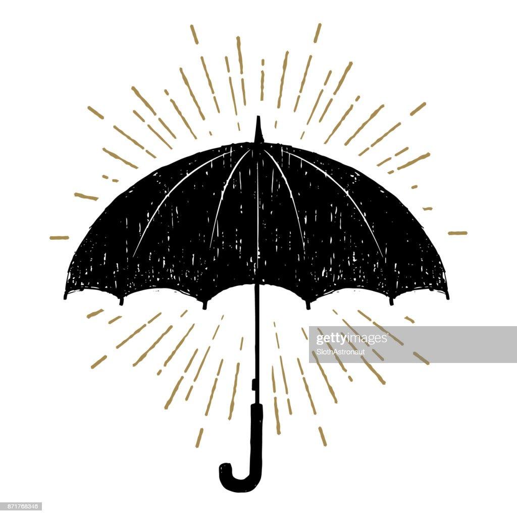 Hand drawn umbrella vector illustration.