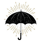 Hand drawn umbrella vector illustration.